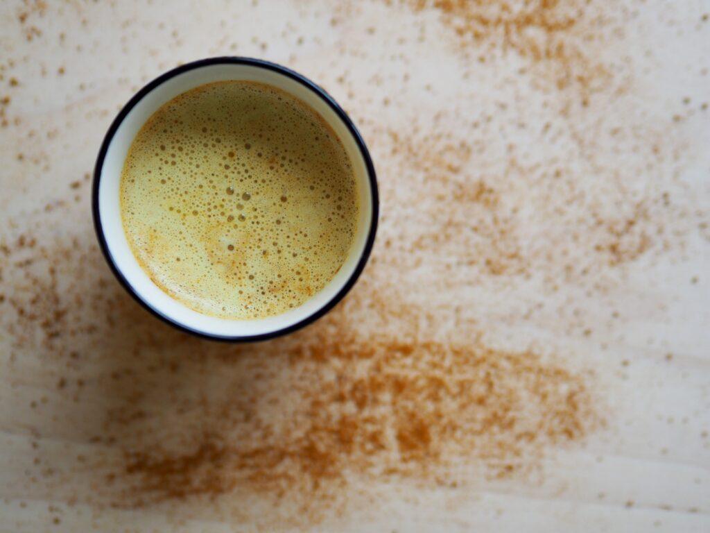 a cup of turmeric warm milk.