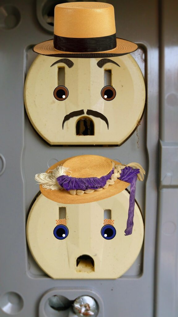 Electrical switches decorated with hats