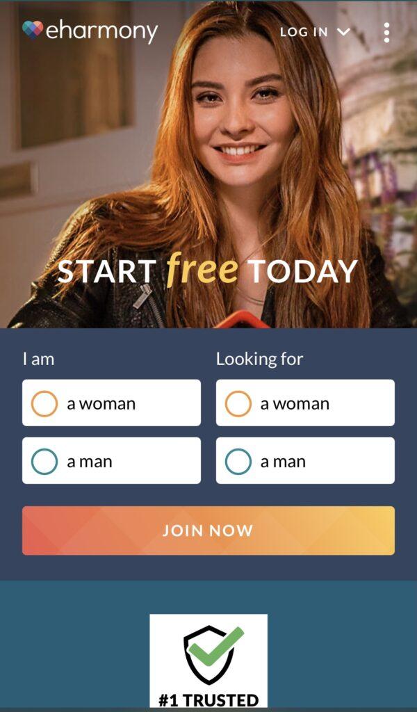 Screenshot of Eharmony home page