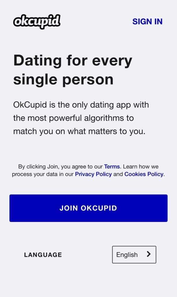Screenshot of OkCupid Home Page
