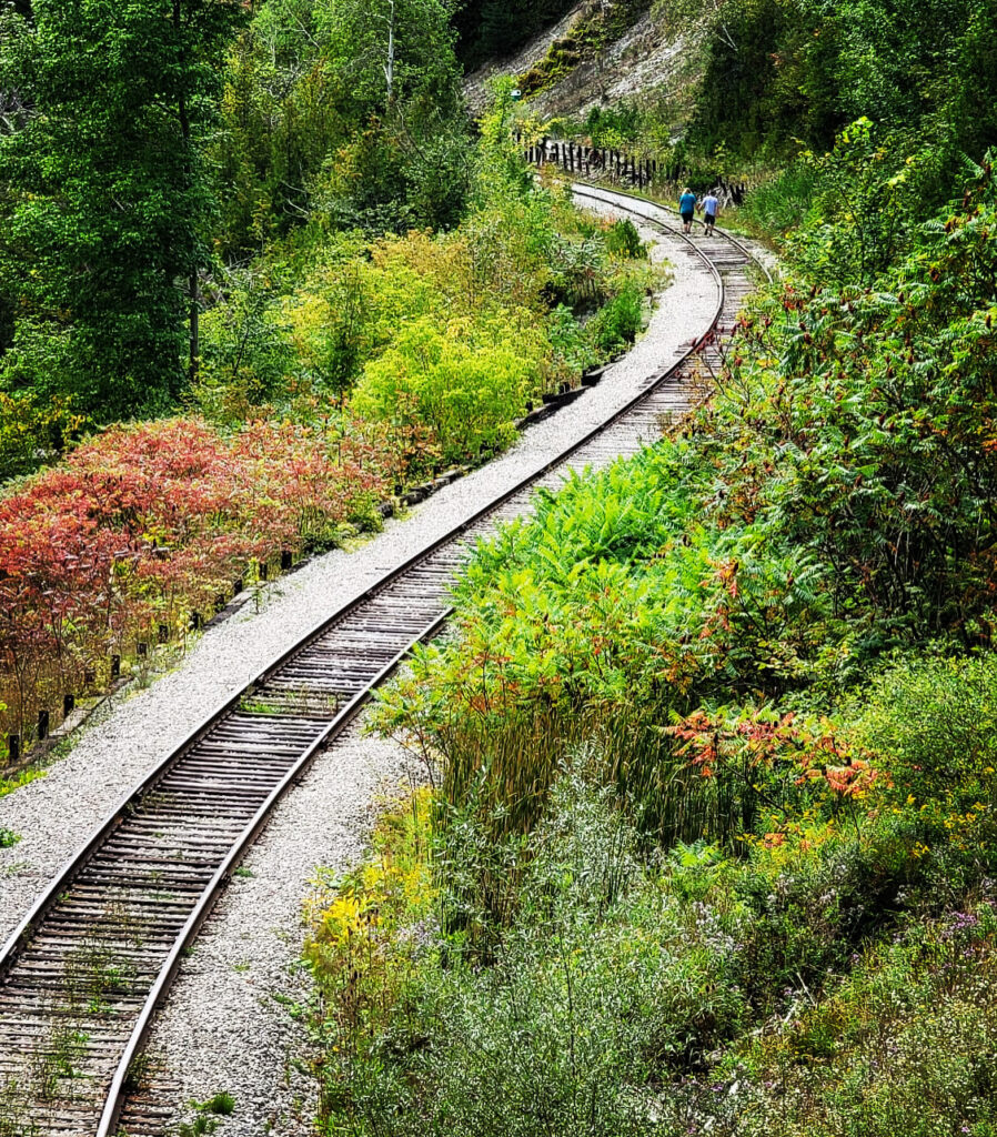 old railway tracks at Forks of the credit park
